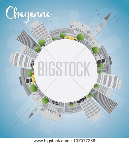 Cheyenne (Wyoming) Skyline with Grey Buildings, Blue Sky and copy space. Business travel and tourism concept with place for text. Image for presentation, banner, placard and web site.