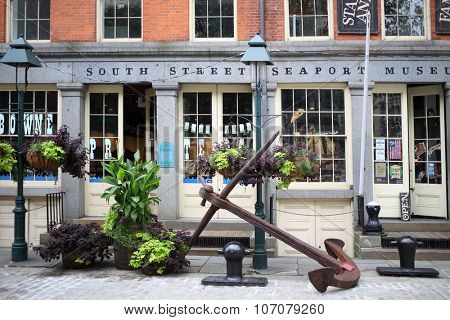 NEW YORK, USA - SEP 08, 2014: The building of the South Street Seaport Museum in New York City