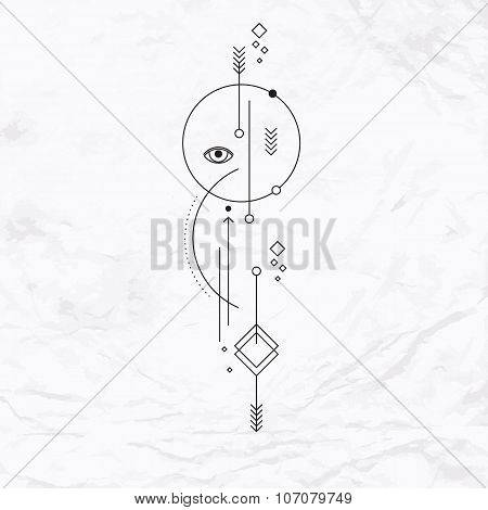 Vector geometric alchemy symbol with eye, circle, shapes, dots, arrows. Abstract occult and mystic signs. Linear logo, spiritual design and simple modern tattoo drawn in thin lines. Magic illustration poster