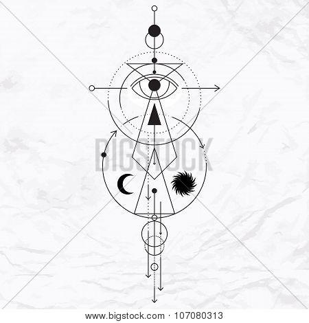 Modern geometric alchemy symbol