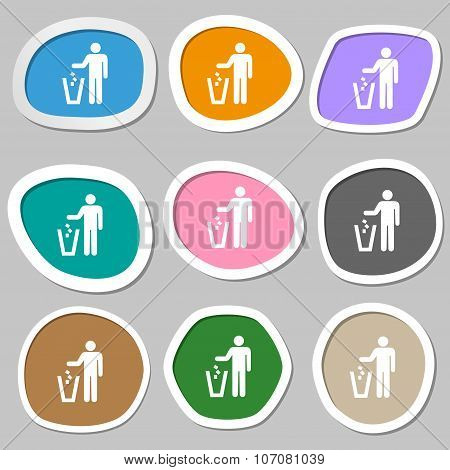 Throw Away The Trash Icon Symbols. Multicolored Paper Stickers. Vector