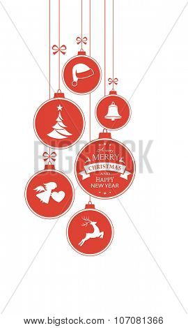 Set of hanging Christmas balls with ornaments such as Christmas tree, Santa hat, reindeer, angel and bell with a ribbons forming a versatile vertical border isolated on white.