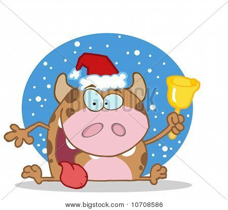 Happy Calf Character Ringing A Bell For Christmas a snowy blue background poster