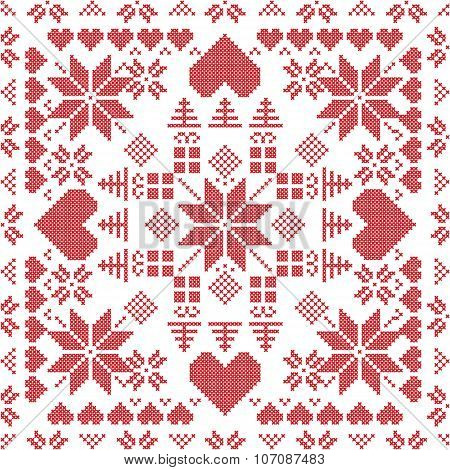 Xmas Pattern In Square Shape In Red