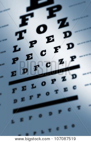 An eye sight test chart with multiple lines poster