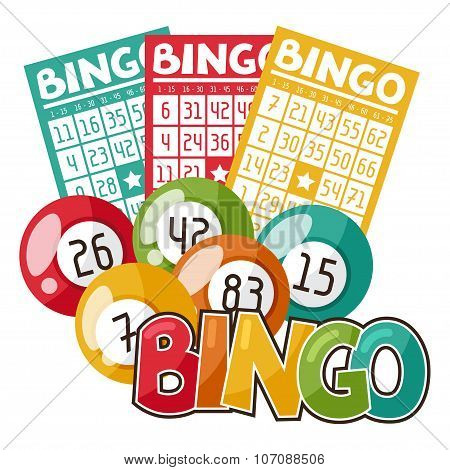 Bingo or lottery game illustration with balls and cards
