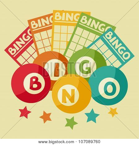 Bingo or lottery retro game illustration with balls and cards