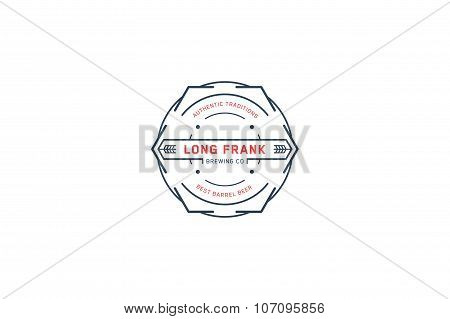 Brewing Logo Template. Line Art. Stock Vector.