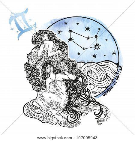 Gemini girls zodiac sign.Horoscope circle.Watercolor stein