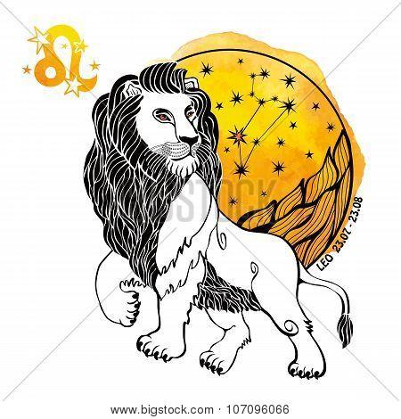 Leo zodiac sign.Horoscope circle.Watercolor splash