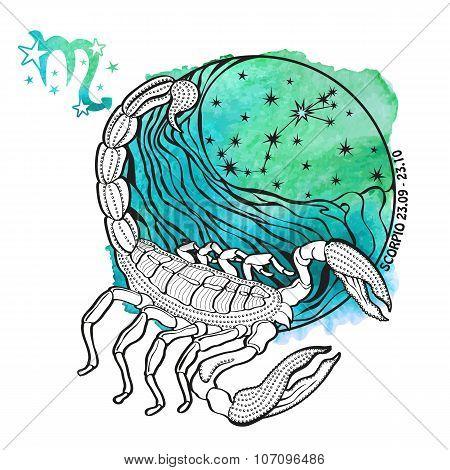 Scorpio zodiac sign.Horoscope circle.Watercolor splash texture