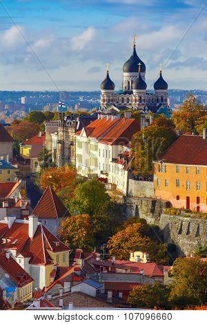 Vertical aerial view old town, Tallinn, Estonia