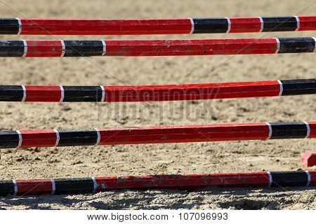 Barriers On The Ground For Jumping Horses As A Background