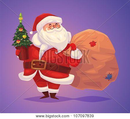Funny santa. Christmas greeting card background poster. Vector illustration.