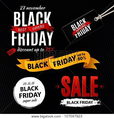 Black Friday Sale Design Elements, Inscription, Labels, Stickers. Vector Set