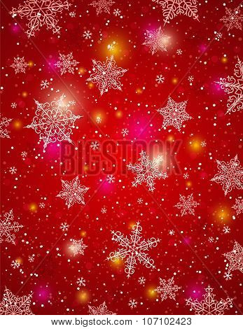 Red Background With Snowflakes, Vector