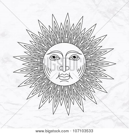 Vector sun tattoo