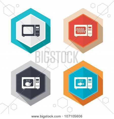 Hexagon buttons. Microwave oven icons. Cook in electric stove symbols. Grill chicken and fish signs. Labels with shadow. Vector poster