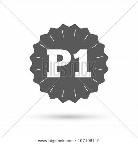 Parking first floor icon. Car parking P1 symbol.