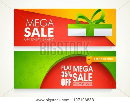 Creative glossy website header or banner set of Mega Sale with flat 35% discount offer for Christmas and Happy New Year celebration.