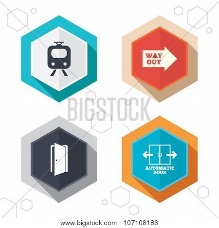 Hexagon buttons. Train railway icon. Automatic door symbol. Way out arrow sign. Labels with shadow. Vector poster