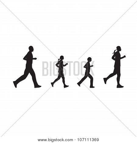 Black Silhouettes Of Running People, Family.
