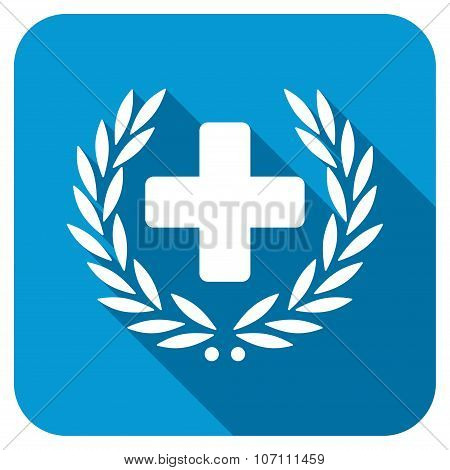 Medical Glory longshadow icon. Style is a blue rounded square button with a white rounded symbol with long shadow. poster