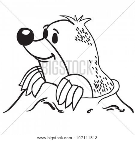 simple black and white mole cartoon