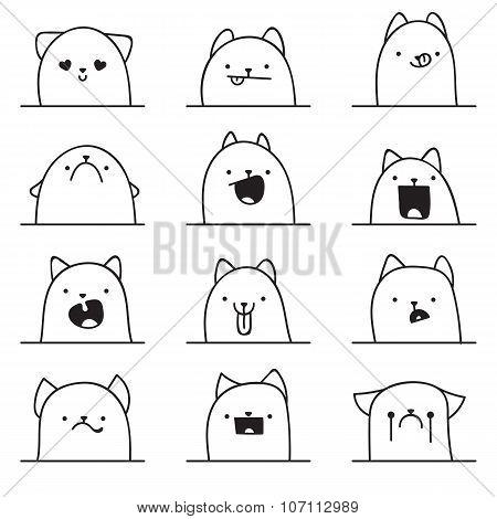 Set of 12 different emotions cat. Anime doodle design