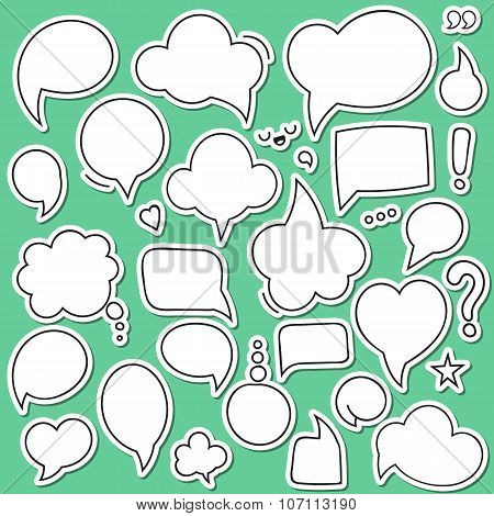 Set of isolated sticker bubbles dialogues. Thought bubble