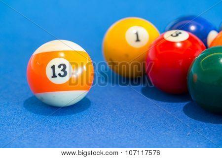 Orange Snooker Ball With Number Thirteen