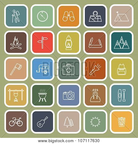 Trekking Line Flat Icons On Green Background