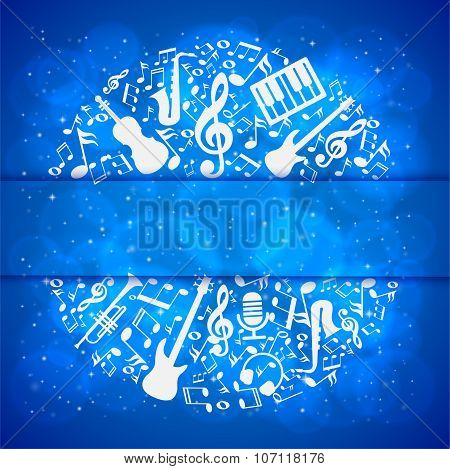 music background with instruments and notes with place for your text