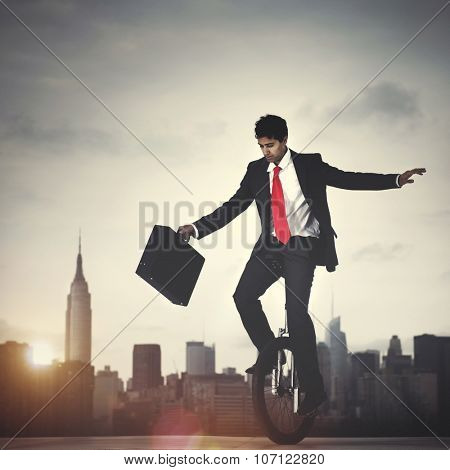 Businessman Cycling Balance Corporate Concept
