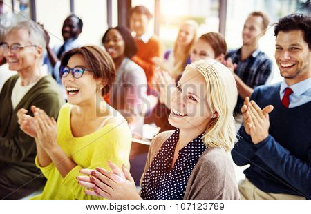 Group of Multiethnic Cheerful People Applauding Concept