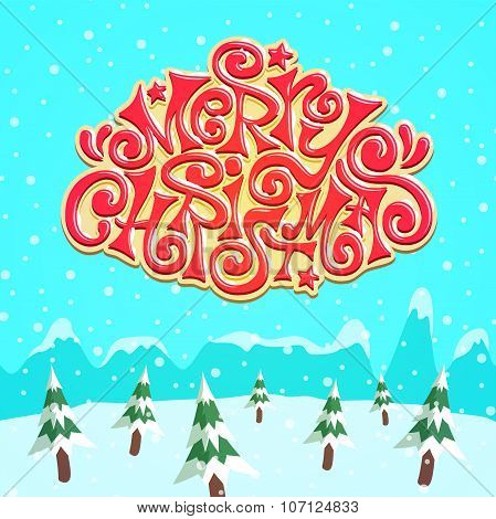 Cool Snow Covered Merry Christmas Lettering Over Pine Forest