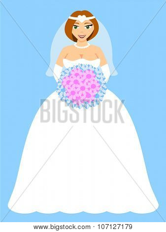 Happy bride with flowers on blue background