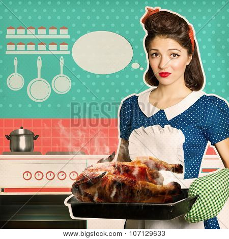 Young housewife overlooked roast chicken in an oven.Retro poster in her kitchen interior. poster