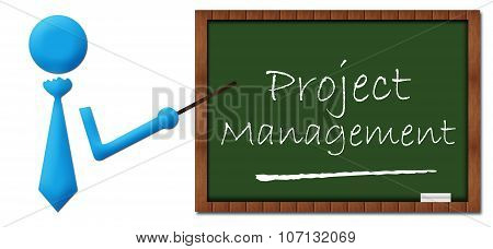 Project Management Human With Greenboard