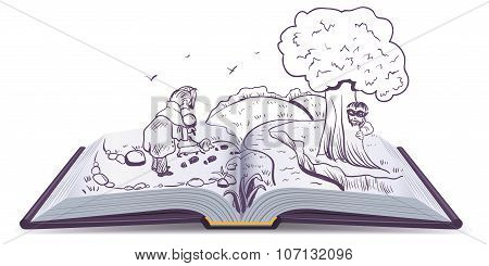 Open book Detective. Detective with dog looking for culprit