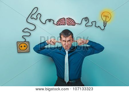 businessman man wrinkled fingers and ears plugged charging cord plug wire igniter charge and sketch infographics poster