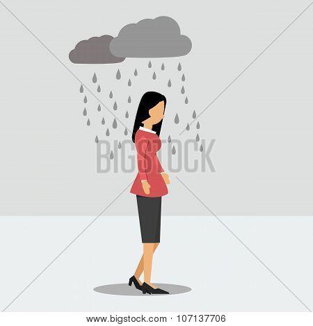 Depressed Woman Under The Rain