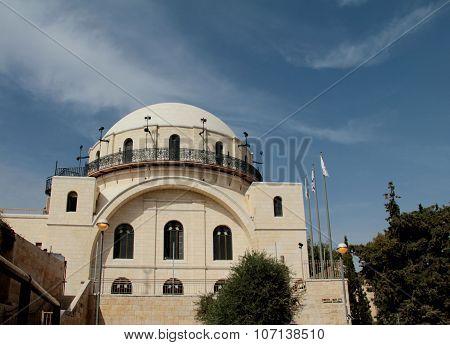 White facade famous restored Hurva Synagogue. Jerusalem