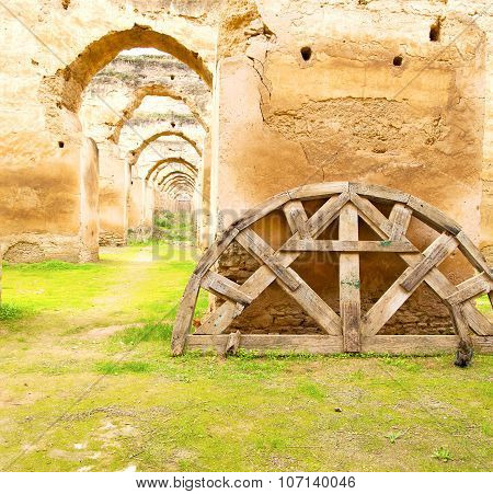 old moroccan granary in the green grass and archway wall poster