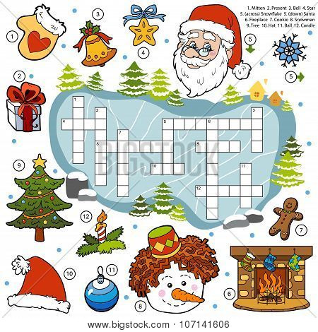 Color Crossword, Education Game For Children About Christmas