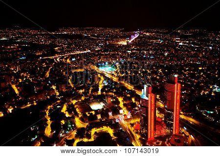 Istanbul, Turkey At Night. Night Panoramic View Above The City.