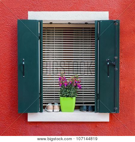 Colorful Residential House Window In Burano
