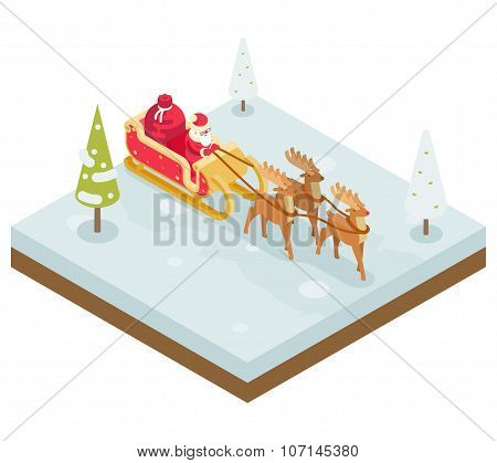Santa Claus Grandfather Frost  Sleigh Reindeer Gifts New Year Christmas Isometric Flat Design Icon Template Vector Illustration poster