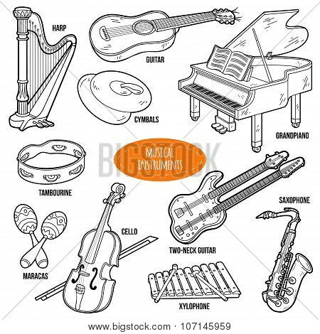 Colorless Set With Musical Instruments, Vector Cartoon Collection