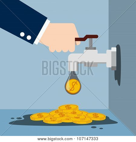 Tap with gold coins